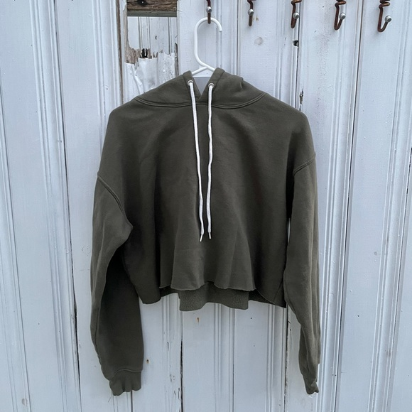 Wild Fable hunter green cropped hoodie.